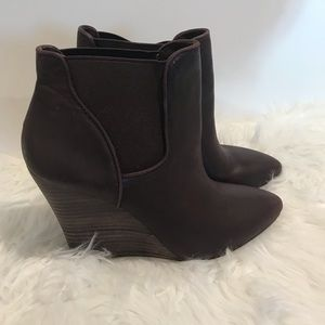 Brown leather booties wedges Sole society Sz 8 NWT